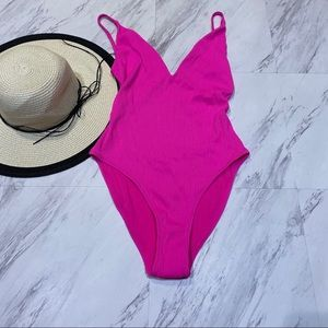 New! Topshop Pink Ribbed One Piece Swimsuit